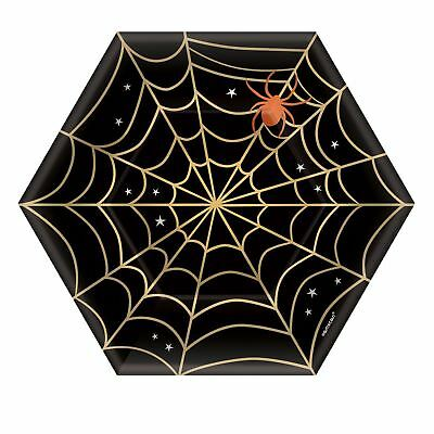 8 X Halloween Black Gold Spider Web Paper Party Plates 18cm Buffet Snack Dessert