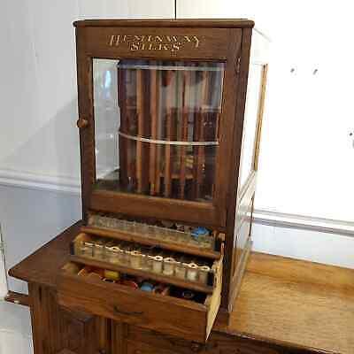 Rare Antique Hemingway Silks Thread Spool Display Store Display Cabinet