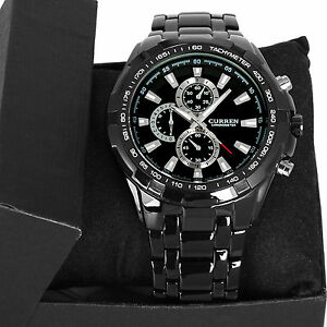 Fashion Black Stainless Steel Luxury Sport Analog Quartz Clock Mens Wrist Watch