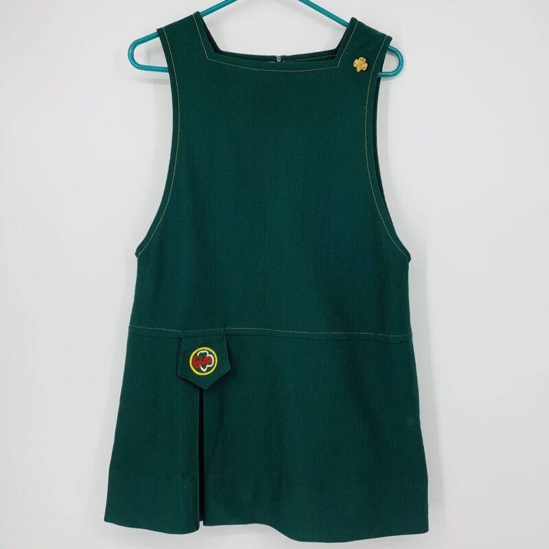 70s Vintage CADETTE Girl Scout Uniform Jumper Size 16 Green Dress EUC