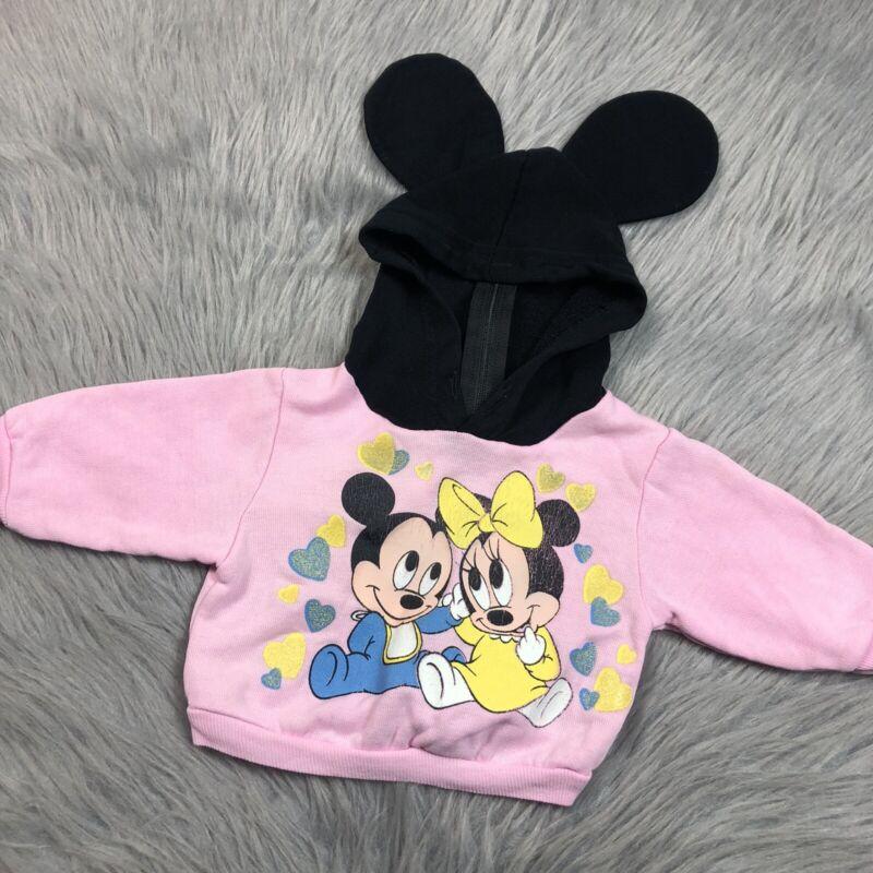 Vintage Disney Babies Pink Baby Girl Minnie Mouse Ear Hoodie