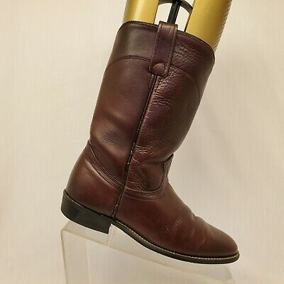 Acme Brown Leather Roper Cowboy Western Boots Womens Size 7.5 M Style 18049 USA