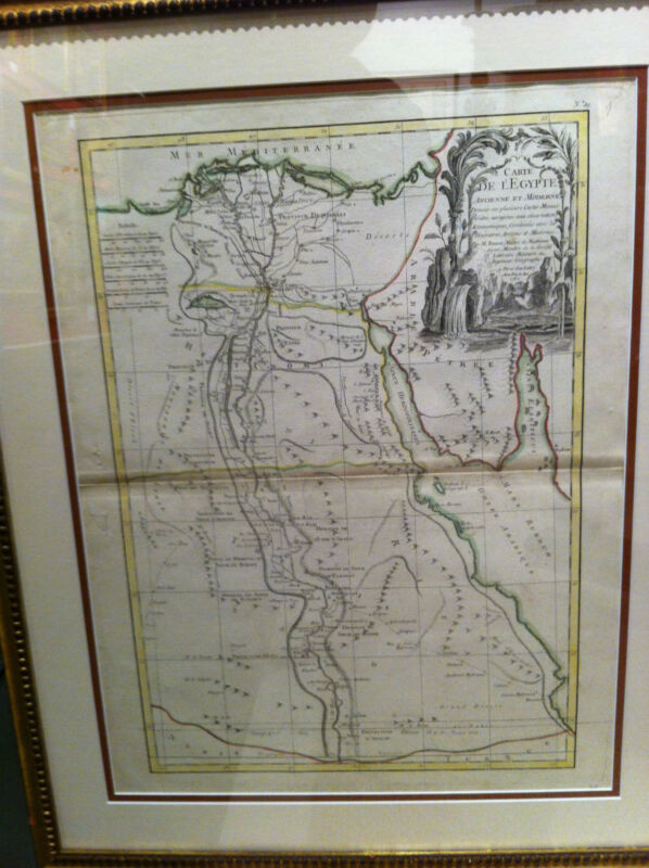 MAP OF EGYPT- BY RIGOBERT BONNE, PARIS 1762