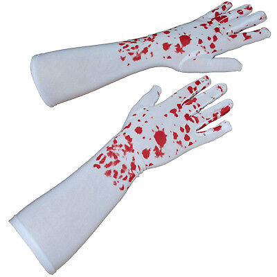 Adult Halloween Gruesome Blood Splattered White Fancy Dress Hands Long Gloves