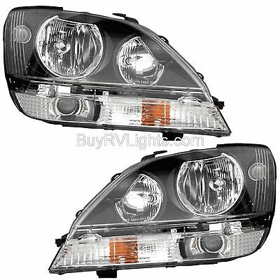 NEWMAR MOUNTAIN AIRE 2005 2006 BLACK HEADLIGHTS HEAD LIGHTS FRONT LAMPS PAIR RV