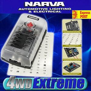 NARVA-12-WAY-FUSE-BLOCK-BOX-HOLDER-ATS-BLADE-CARAVAN-DUAL-BATTERY-12V-NEW-54450