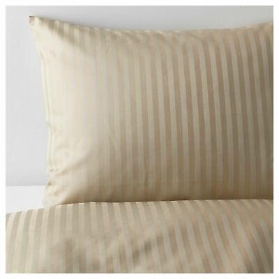 IKEA NATTJASMIN FULL/QUEEN DUVET COVER + 2 PILLOWCASES BED SET STRIPED BEIGE NEW
