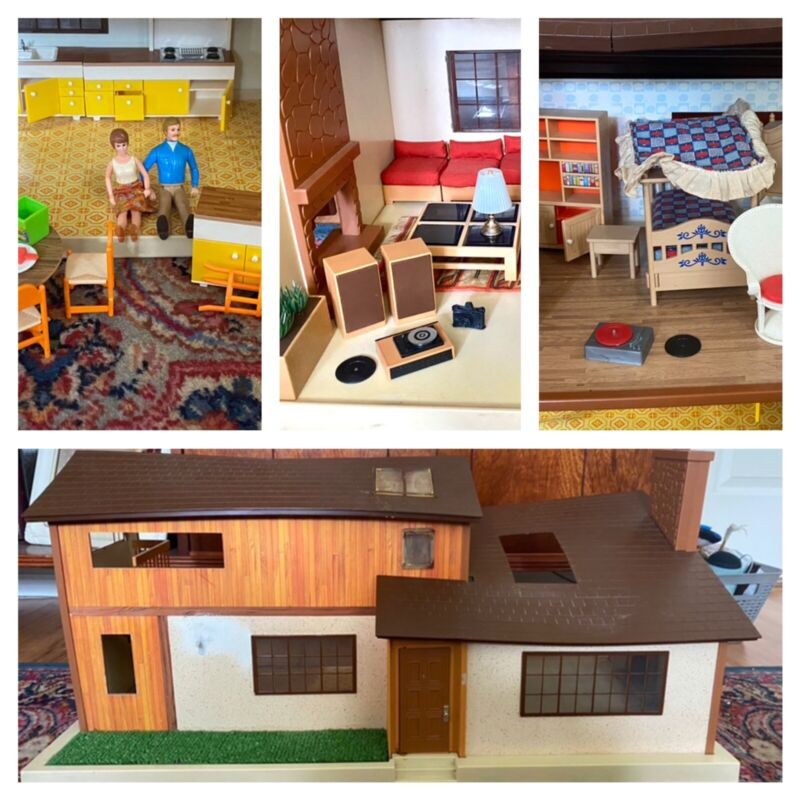 Vintage Tomy Smaller Homes & Gardens Dollhouse, Furniture And 2 People