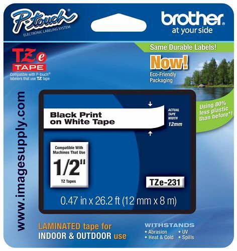 "Brother 0.47""x 26.2' Black on White Tape for P-Touch TZE-231"