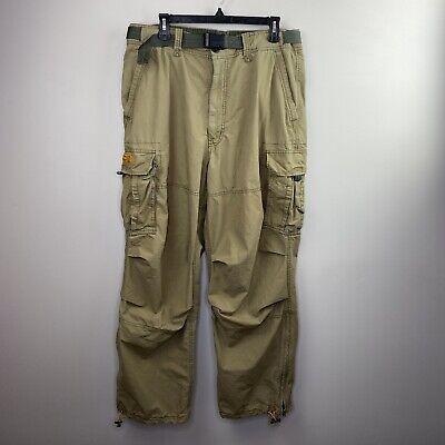 Abercrombie & Fitch Mens Sz 34 x 31 L Distressed Paratrooper Pants Cargo Khaki
