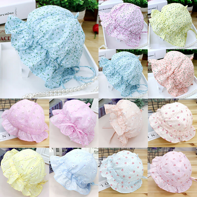 Baby Kids Girls Floral Sun Hat Bucket Hats Lace Princess New