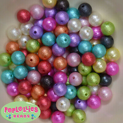 12mm Mixed Colors Acrylic Crinkle Finish Bubblegum Beads Lot 100 pc.