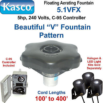 Kasco 5.1VFX150 Floating Aerating Fountain 5hp 240 volts 150' Cord