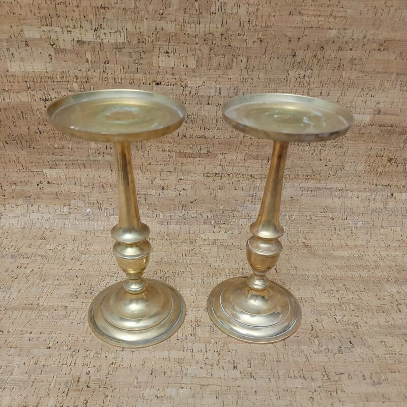 """2 Vintage 9"""" Tall Solid Brass Round Base Candle Holders"""