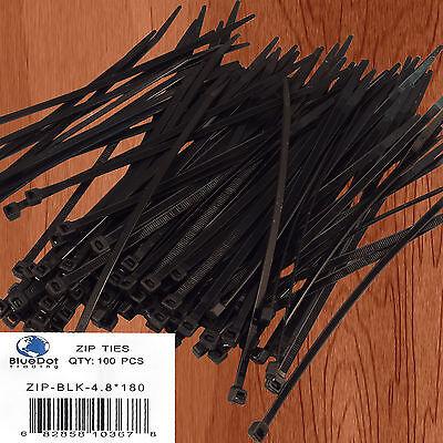 "BLACK 100 PCS Pack 7"" inch Network Cable Wire Tie Strap Cord 50 Lb Zip Nylon USA"