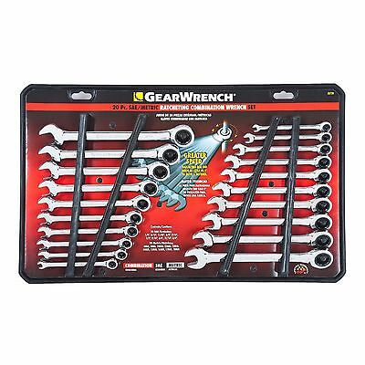 - GearWrench 20 pc Ratcheting Combination Wrench Set SAE Standard METRIC MM 35720