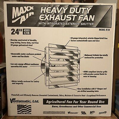Maxxair If24ups 4100-cfm 24 Heavy-duty Exhaust Fan Wintegrated Shutter Wall