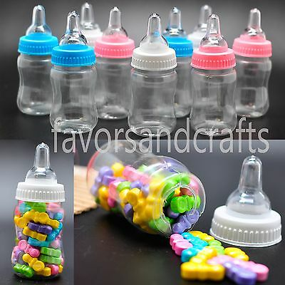 Baby Shower Party Decoration (24 Fillable Bottles for Baby Shower Favors Blue Pink Party Decorations Girl)