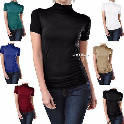 Short Sleeve Mock Neck Shirt Turtle Neck Tank Top Stretch Slim Fit Tee Shirt  ()
