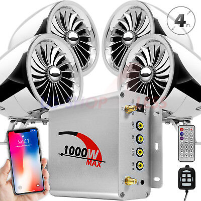 1000W Bluetooth Motorcycle Stereo 4 Speaker Audio MP3 System AUX USB SD FM Radio