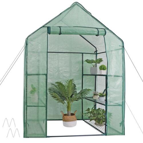 Mini 6 Shelves 3 Tiers Walk In Door Outdoor Green House for Planter Portable Garden Structures & Shade