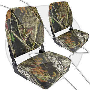 Mossy Oak High Back Folding Fishing & Hunting Marine Grade Camo Boat Seats
