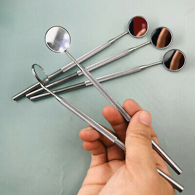 5 Pcs Dental Mouth Mirror 4 Plain With Handle Dental Instruments