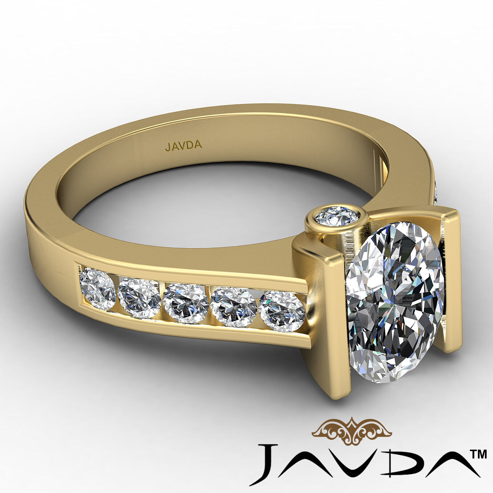 Oval Diamond Engagement Bezel Setting Ring GIA, E Color & SI2 clarity 1.4 ctw. 7