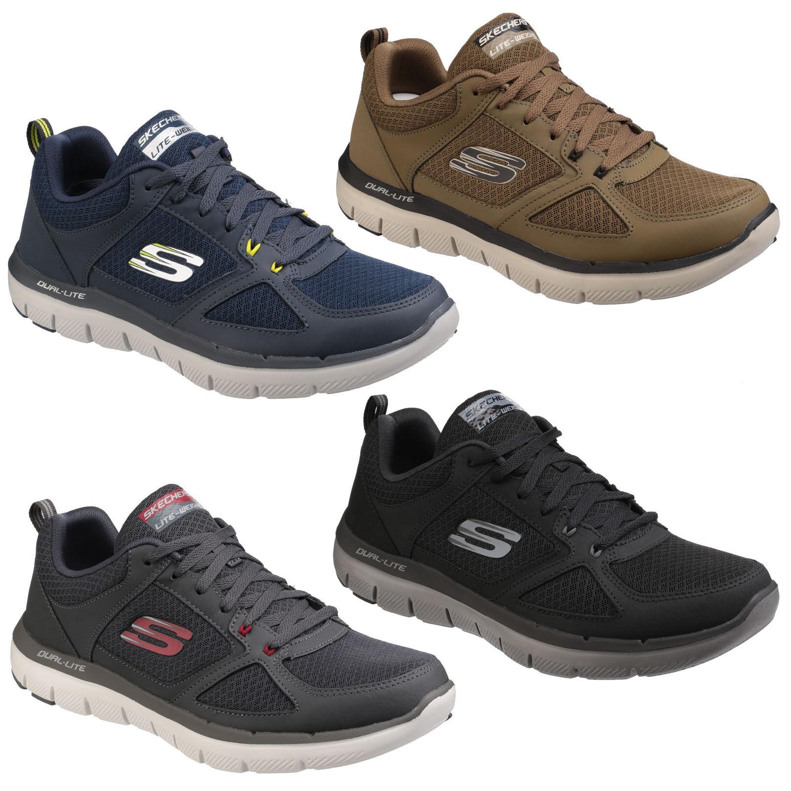 Skechers Flex Advantage 2.0 Trainers Mens Lace Up Sport Workout Training  Sneaker fdd99b322ba