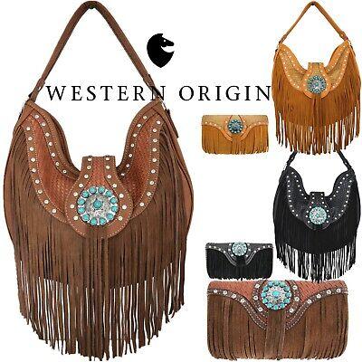 Fringe Conchos Western Handbag Concealed Carry Purse Women Shoulder Bag / Wallet