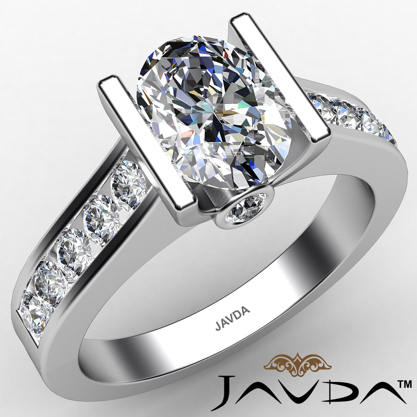Oval Diamond Engagement Bezel Setting Ring GIA, E Color & SI2 clarity 1.4 ctw.