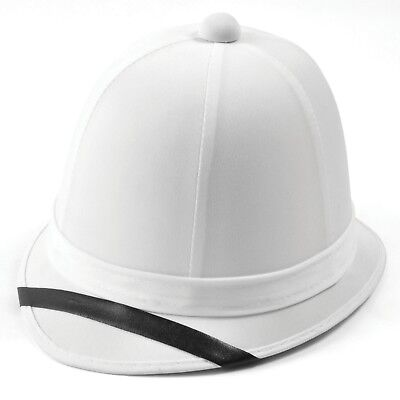 Tropenhelm Safari Kostüm (Erwachsene Weiß Tropen- Helm Kostüm Safari Militär Kolonial Zubehör)