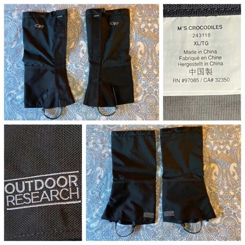 OUTDOOR RESEARCH Men's Crocodiles XL Black Belted Gore-Tex Gaiters - MINT COND.