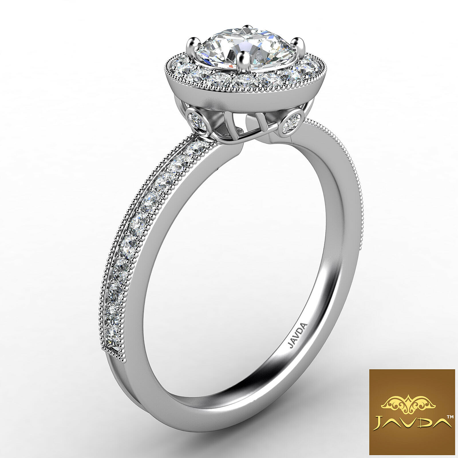 0.9ctw Halo Milgrain Sidestone Round Diamond Engagement Ring GIA F-VVS2 W Gold 2