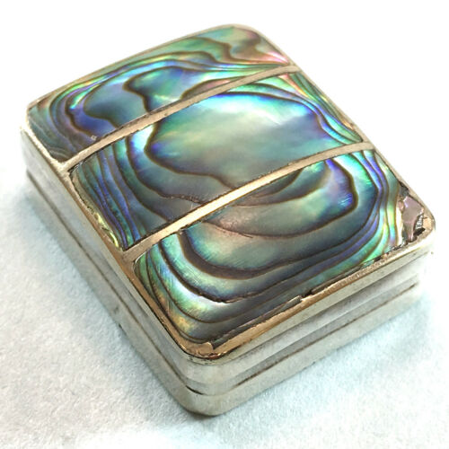 Mexican Pre-Eagle Abalone & Sterling Silver Pillbox Signed JD or CD, 6g