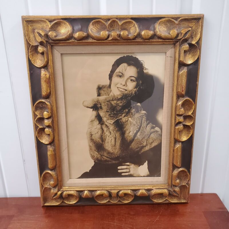 Vintage wood  Picture Frame beautiful woman posing