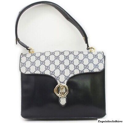Auth Gucci Vintage Kelly Leather Satchel Bag GG Pattern w/ Dust bag