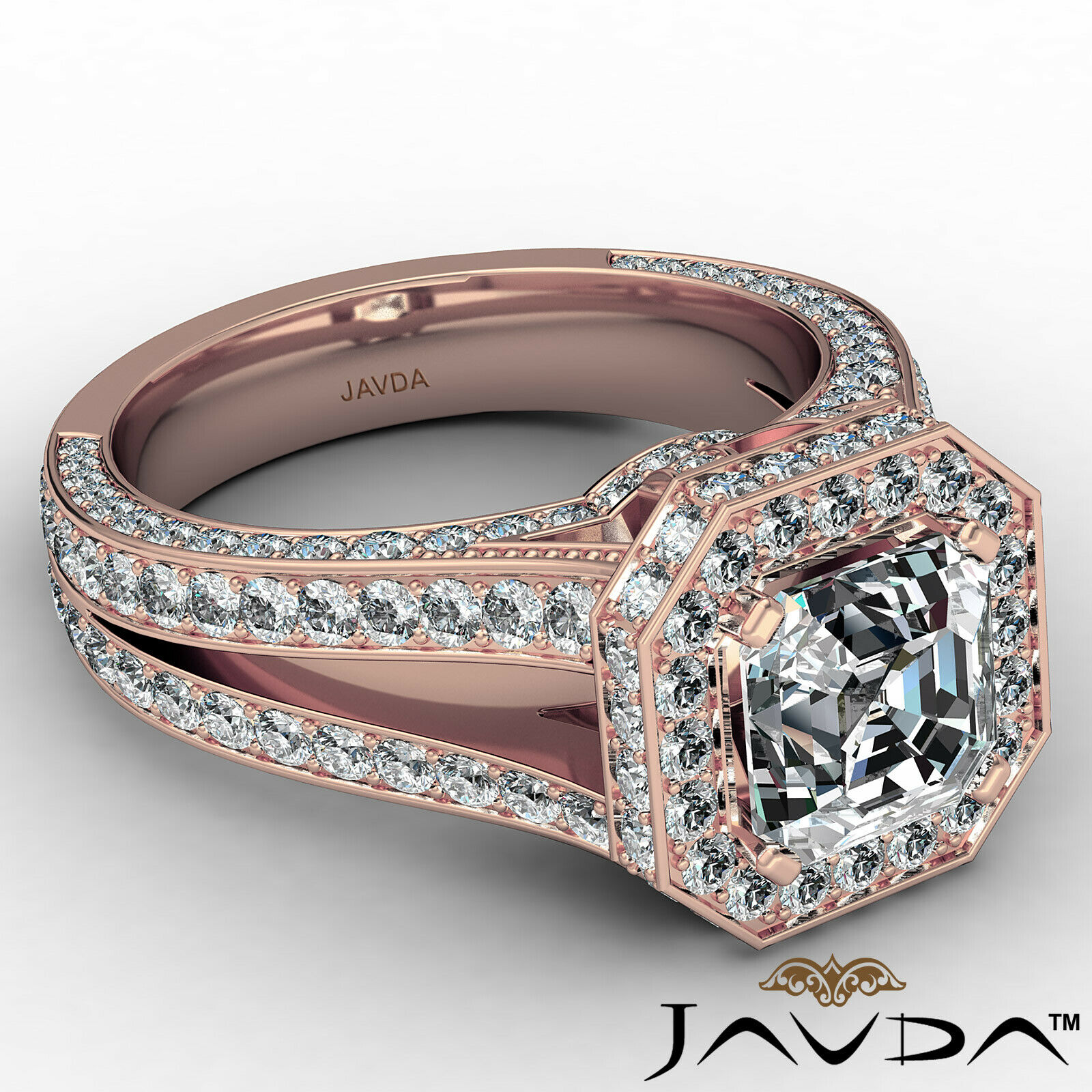 Halo Asscher Diamond Engagement Ring GIA Certified G Color & SI2 clarity 2.4 ctw 8