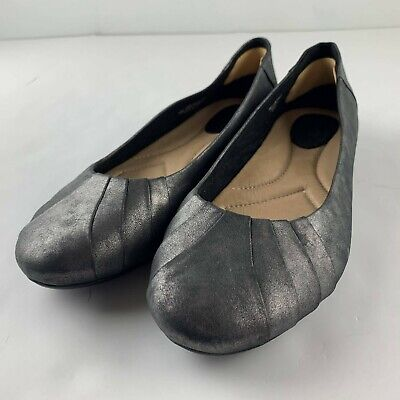 Earth Bellwether Pewter Leather Women 9.5 B Gray Casual Slip On Flats Shoes