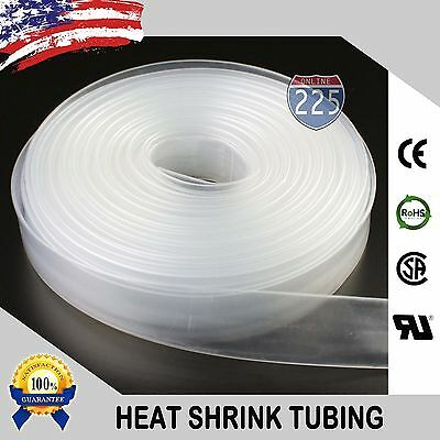 "10 FT. 10' Feet CLEAR 1"" 25mm Polyolefin 2:1 Heat Shrink Tubing Tube Cable US UL"