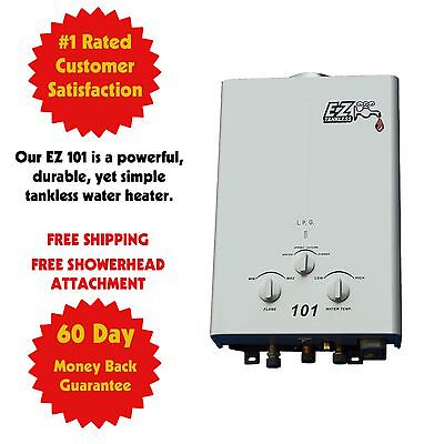 Ez 101 Tankless Water Heater Propane Gas Rv   On Demand Lpg Portable Camp Refurb