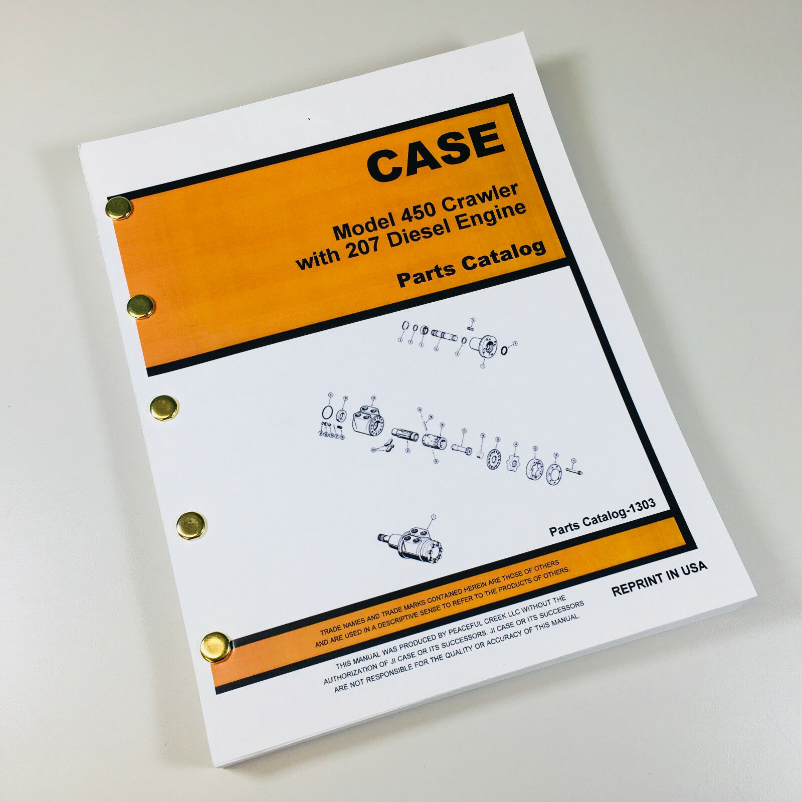 Case 450 Crawler Dozer Parts Manual. Covers all models with 207 Diesel  Engine Entire Chassis and engine, All Components