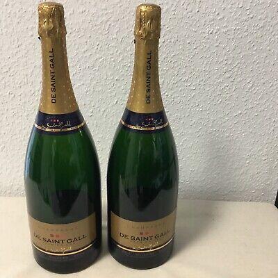 2 Champagner Magnum Flaschen De Saint Gall 2004 1,5 Liter Leer zur Dekoration