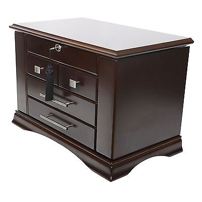 (Arolly Large Modern Dark Espresso Wood Finish Necklace Jewelry Box Chest Organiz)