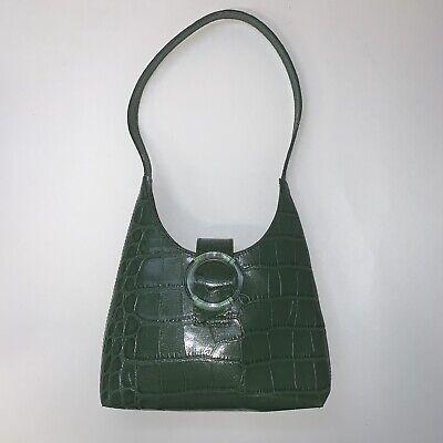 IMAGO-A | Green Croc Embossed Leather Mini U-Shape Bag MSRP $368