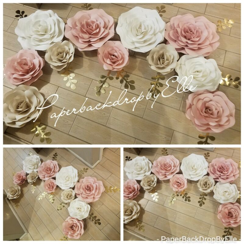 10 Paper flowers HAND♡MADE wall decor