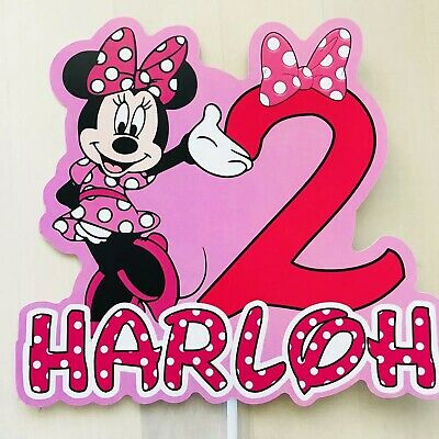Mickey Minnie Mouse PERSONALISED Cake Topper.  Pary Supplies Lolly Loot Bag Food