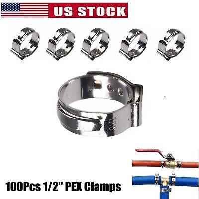 100x 12 Pex Clamp Cinch Rings Crimp Pinch Fittings 304 Stainless Steel