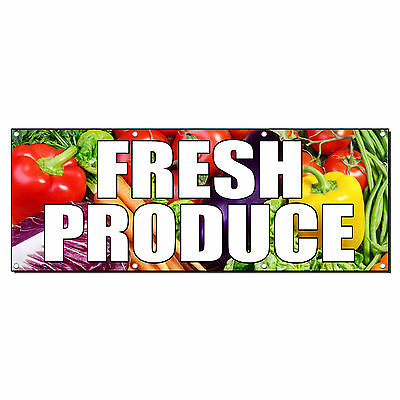 Fresh Produce Farmers Market Food Fair 2 Ft X 4 Ft Banner Sign W 4 Grommets