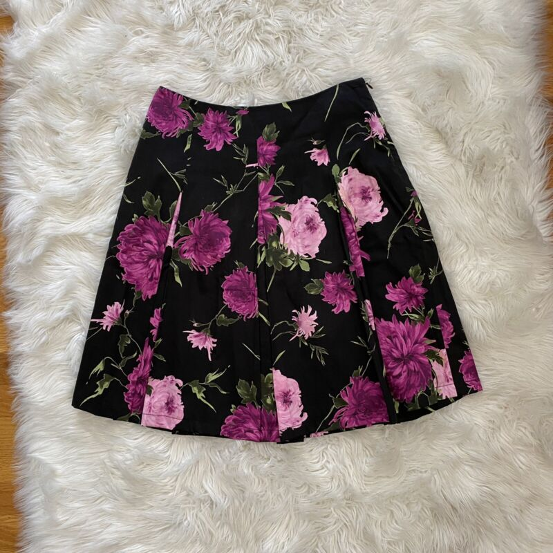 Talbots Floral A Line Skirt 4 XS S